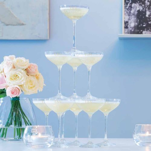 LSA Monogrammed Champagne Tower Set of 10 Glasses